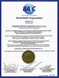 BASC Certificate