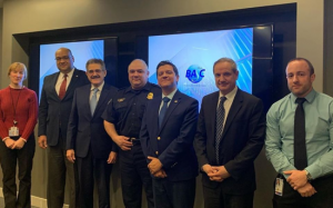 CBP delegates, including Manny Garza, CTPAT Program Director and Carlos Ochoa, Branch Chief - CTPAT Trade Engagement and Communications, with directors of WBO, Fermin Cuza, International President; Manuel Echeverria, Executive Director and Alvaro Alpizar, Vice-president of the Board of Directors.