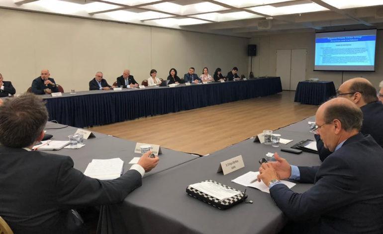 Miembros del Grupo Regional del Sector Privado (RPSG) de la OMA durante su primera sesión de trabajo en São Paulo, Brasil.